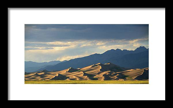 Landscape; Scenery; Sand Dunes; Sunset On Sand Dunes; Colorado Scenery Framed Print featuring the photograph Great Sand Dunes, Colorado by Bill Leverton