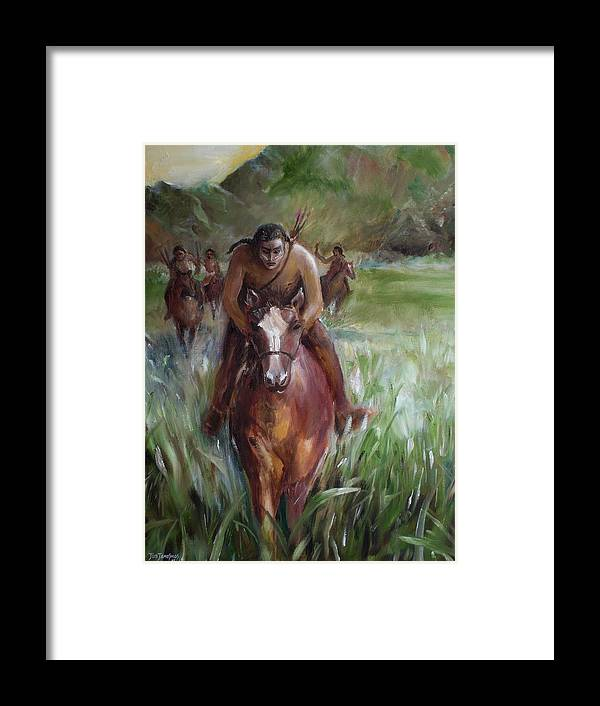 Horse Framed Print featuring the painting Great Valley Run by Jun Jamosmos