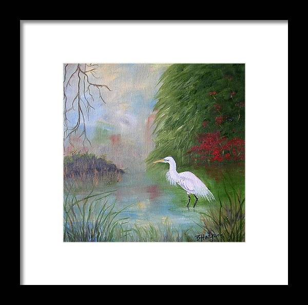Egret Framed Print featuring the painting Great White Egret by Barbara Harper