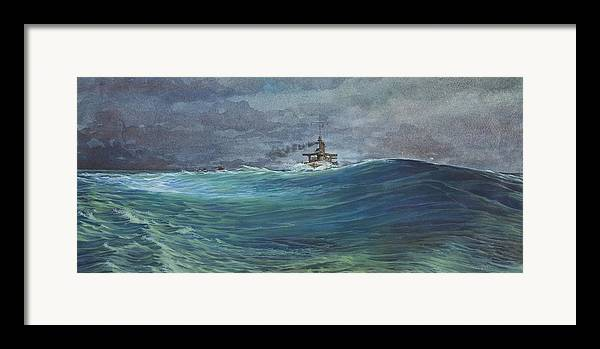 Seascape Framed Print featuring the painting Great White Fleet In A Squall by Stephen Bluto