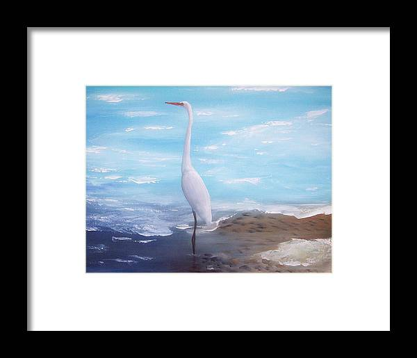 Heron Framed Print featuring the painting Great White Heron by Tony Rodriguez