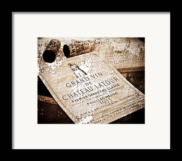 Frank Tschakert Framed Print featuring the mixed media Great Wines Of Bordeaux - Chateau Latour 1955 by Frank Tschakert