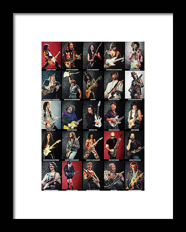 Guitar Framed Print featuring the digital art Greatest Guitarists Of All Time by Zapista OU