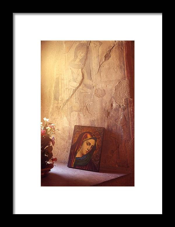 Art Framed Print featuring the painting Greece. Lesvos. 16th Century Fresco And Virgin Mary Icon by Steve Outram