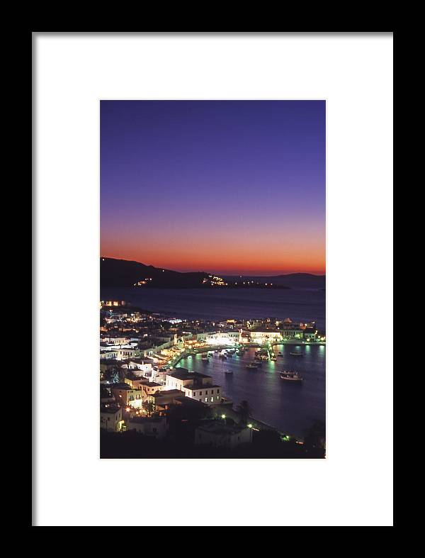 Greece Framed Print featuring the photograph Greece Mykonos Harbor. Dusk by Steve Outram