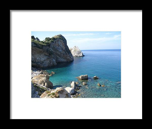 Greece Framed Print featuring the photograph Greece Skiathos Kastro by Yvonne Ayoub