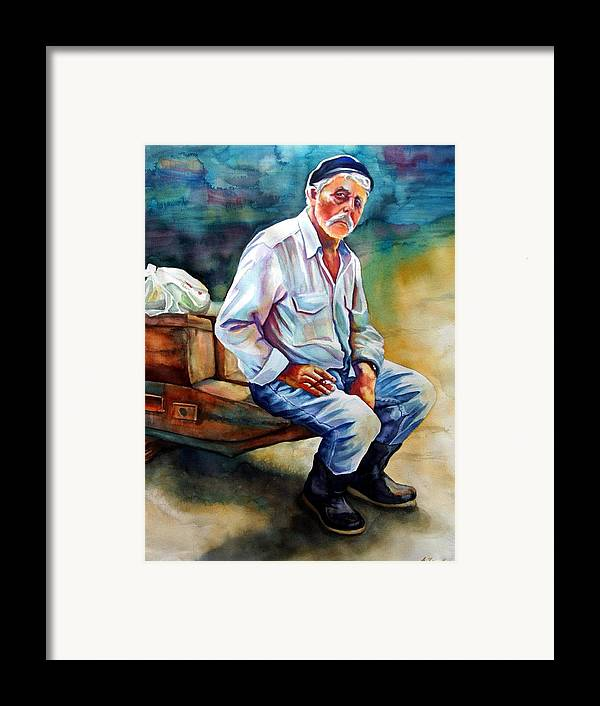Portrait Framed Print featuring the painting Greek Fisherman by Gail Zavala