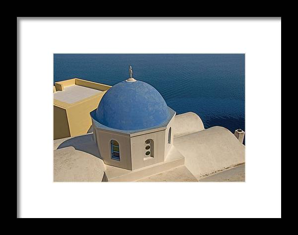 Greek Island Framed Print featuring the photograph Greek Island Dome by Charles Ridgway