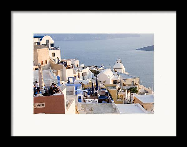 Greek Island Framed Print featuring the photograph Greek Island Volcanic Town by Charles Ridgway
