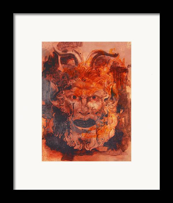 Drawing Framed Print featuring the digital art Greek Mask 8 by Tom Durham