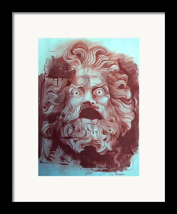 Figure Framed Print featuring the digital art Greek Mask by Tom Durham