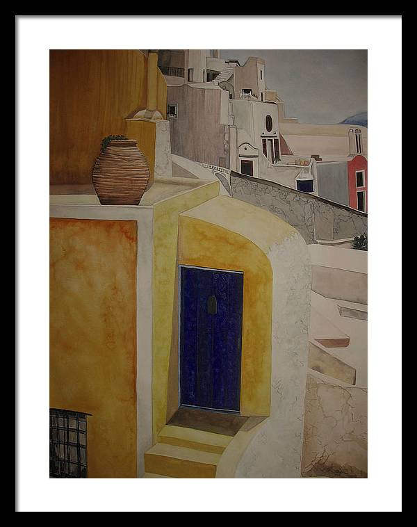 Watercolor Framed Print featuring the painting Greekscape 2 by Caron Sloan Zuger