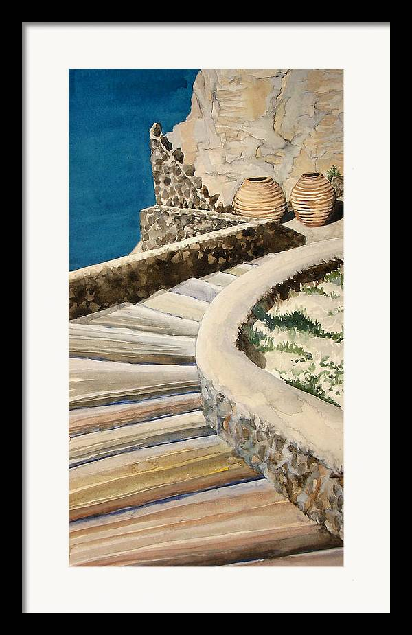 Watercolor Framed Print featuring the painting Greekscape 3 by Caron Sloan Zuger