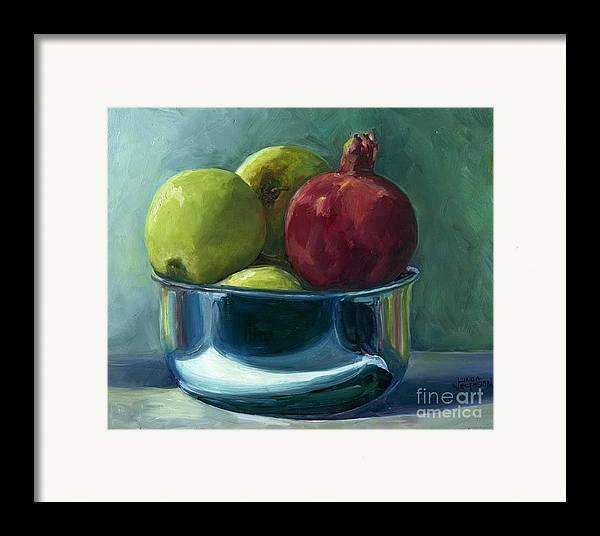Apple Framed Print featuring the painting Green Apples And A Pomegranate by Linda Vespasian