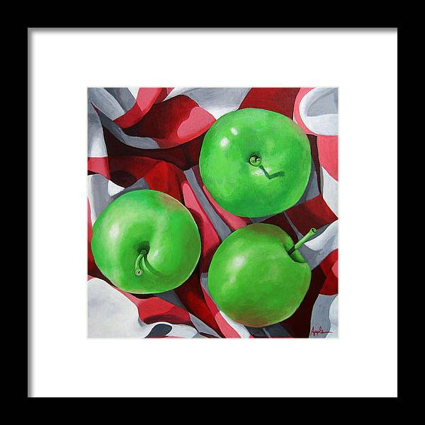 Apples Framed Print featuring the painting Green Apples still life painting by Linda Apple