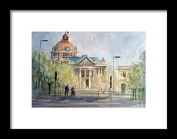 Watercolor Framed Print featuring the painting Green Bay Courthouse by Ryan Radke