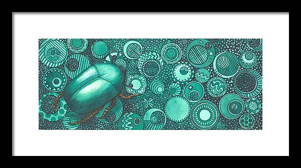 Bug Framed Print featuring the painting Green Beetle by Catherine G McElroy