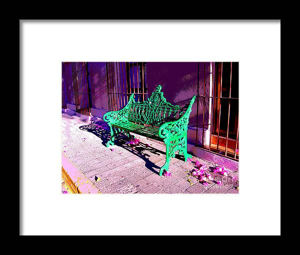 Michael Fitzpatrick Framed Print featuring the photograph Green Bench By Michael Fitzpatrick by Mexicolors Art Photography
