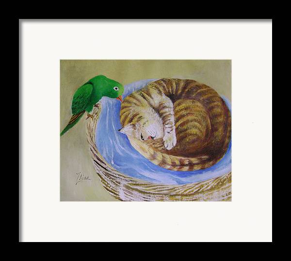 Fantasy Framed Print featuring the painting Green Bird by Lian Zhen