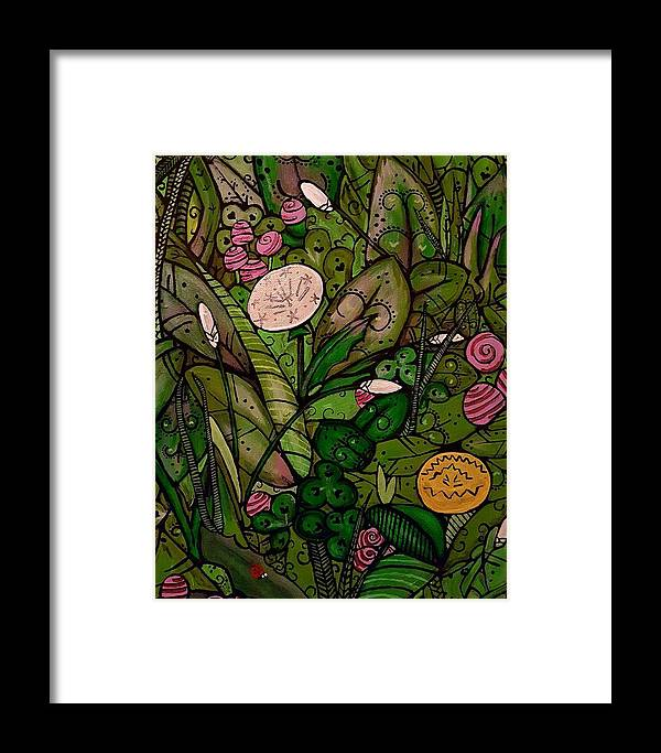 Grass Leaves Floral Mandala Paisley Framed Print featuring the painting Green by Carole Hutchison