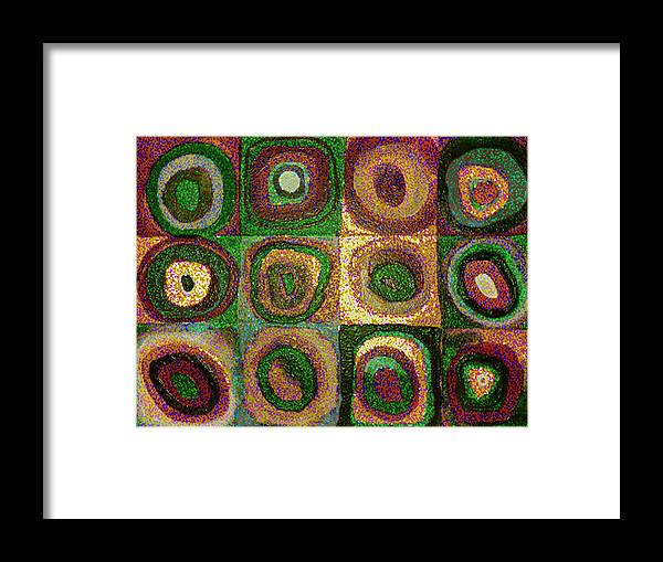 Digital Framed Print featuring the painting Green Circles by Vicky Brago-Mitchell