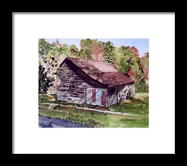 Barns Framed Print featuring the painting Green Creek Barn by Jean Blackmer