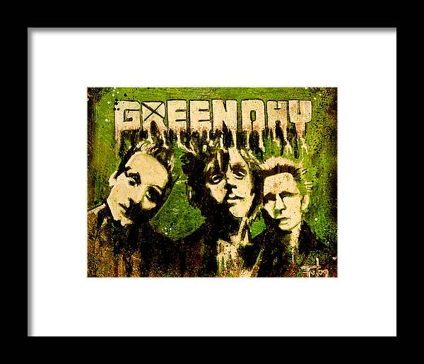 Greenday Rock Band Music Pop Art Modern Garage Framed Print featuring the painting Green Day by Christopher Chouinard