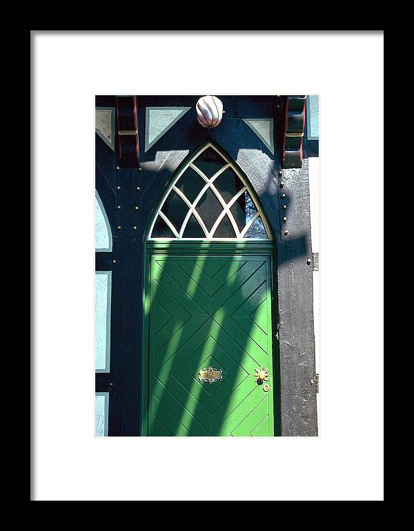 Green Framed Print featuring the photograph Green Door by Flavia Westerwelle