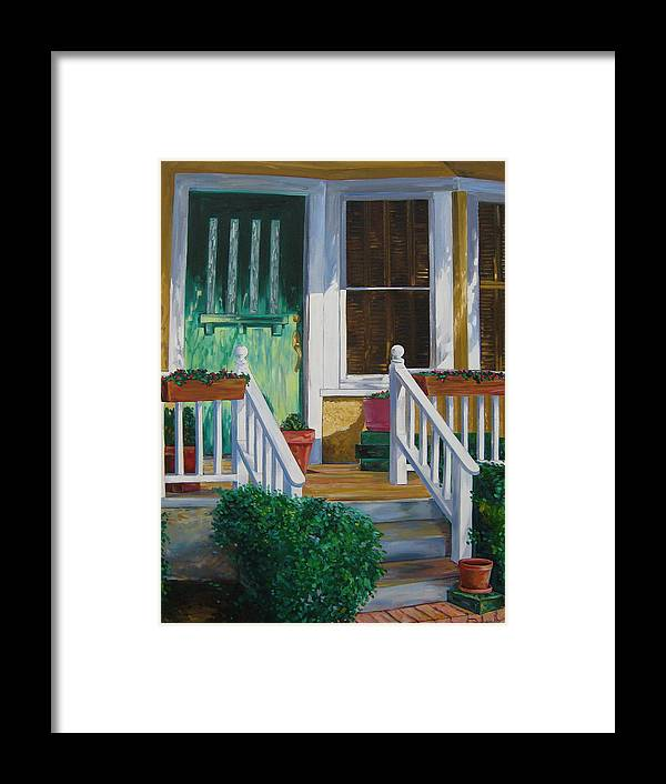 Green Framed Print featuring the painting Green Door by Karen Doyle