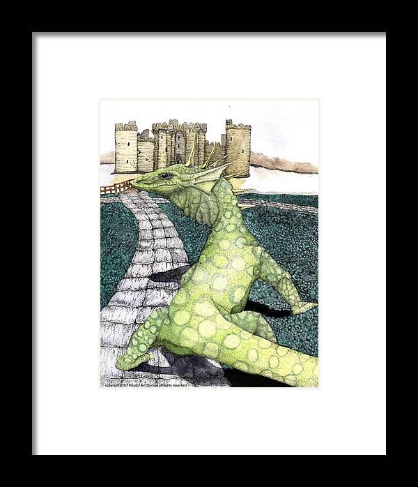 Dragon Moniter Lizard Dragon Draco Framed Print featuring the mixed media Green Dragon by Preston Shupp