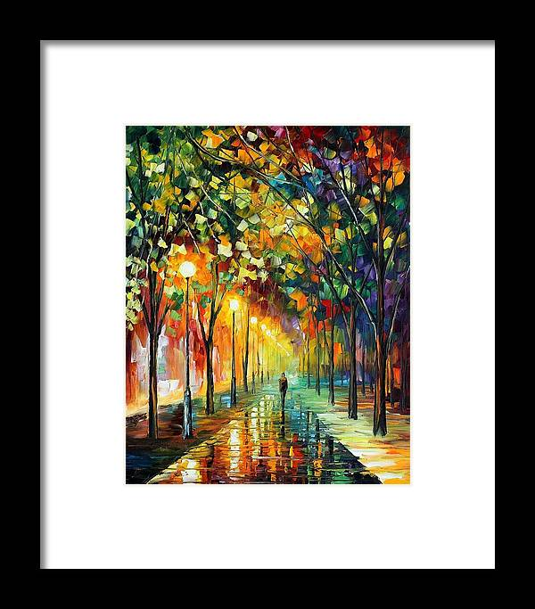 Afremov Framed Print featuring the painting Green Dreams by Leonid Afremov