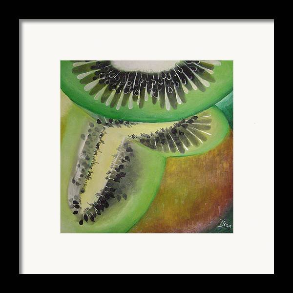 Abstract Framed Print featuring the painting Green Ecstasy 1 by Lian Zhen