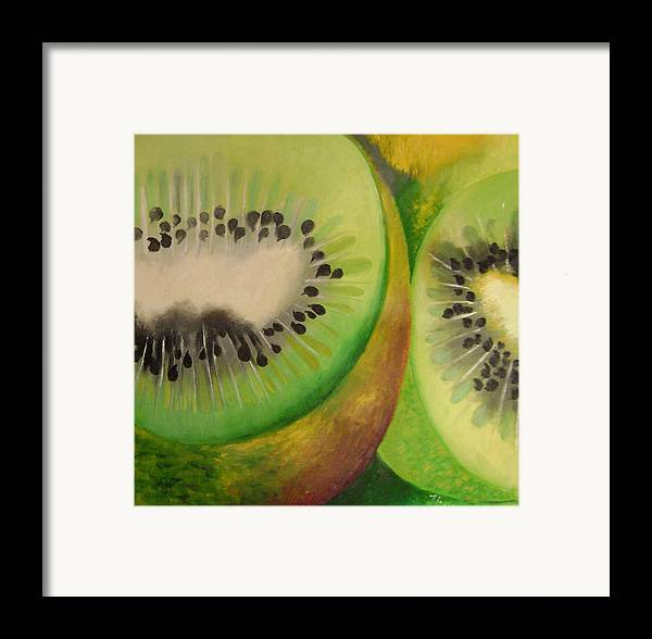 Abstract Framed Print featuring the painting Green Ecstasy 2 by Lian Zhen