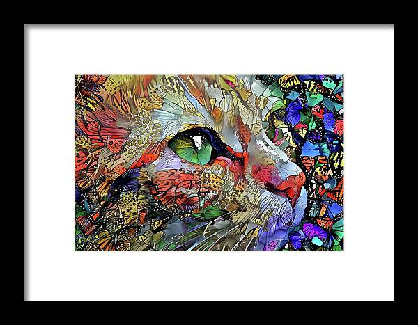 Cat Framed Print featuring the digital art Green Eyed Orange Cat Dreaming by Peggy Collins