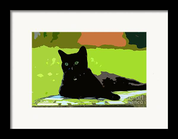 Cat Framed Print featuring the painting Green Eyes by David Lee Thompson