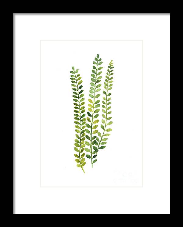 Fern Framed Print featuring the painting Green Fern Watercolor Minimalist Painting by Joanna Szmerdt
