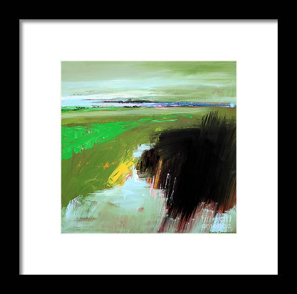 Abstract Landscape Framed Print featuring the painting Green Field by Mario Zampedroni