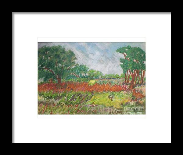 Landscape Framed Print featuring the pastel Green Fields Of Spring by Hal Newhouser