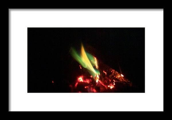 Fire Framed Print featuring the photograph Green Fire by Paula Ferguson