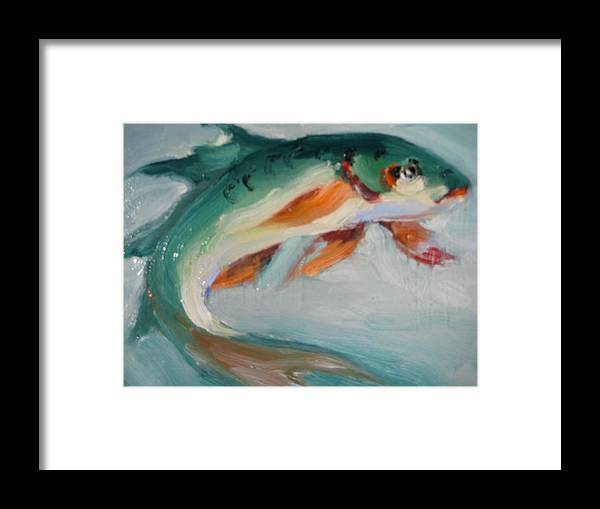 Fish Framed Print featuring the painting Green Fish by Susan Jenkins