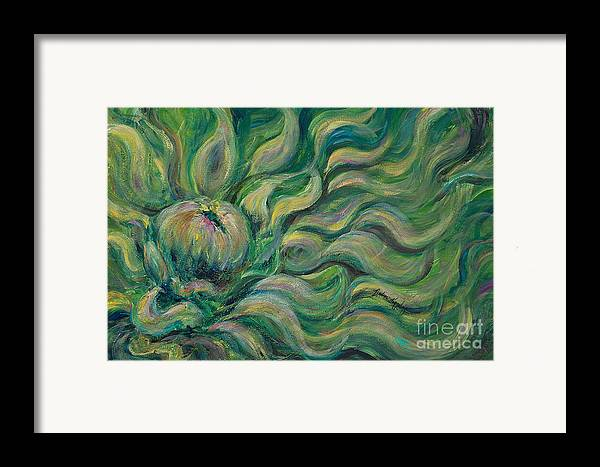 Green Framed Print featuring the painting Green Flowing Flower by Nadine Rippelmeyer