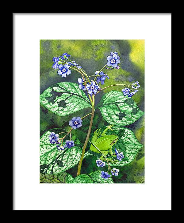 Frog Framed Print featuring the painting Green Frog by Catherine G McElroy