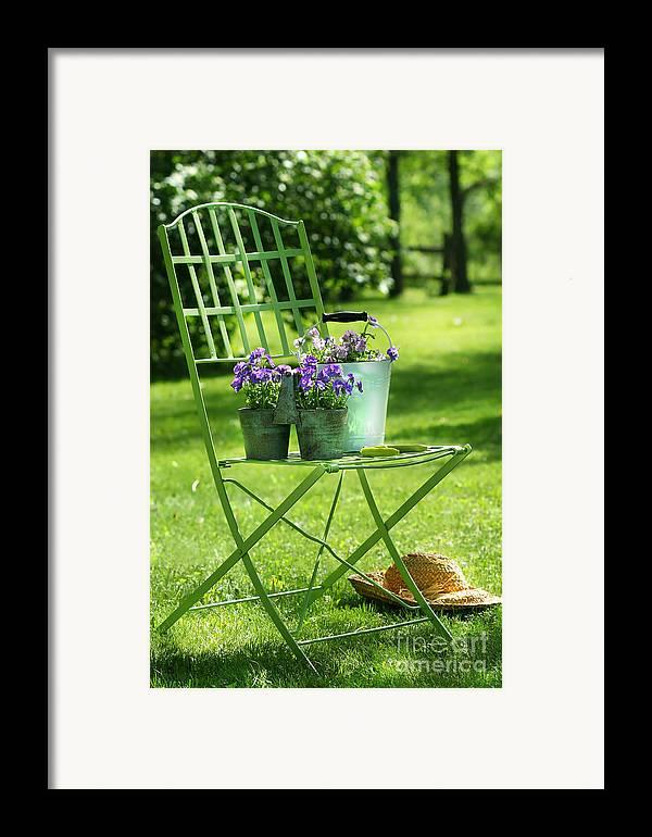 Afternoon Framed Print featuring the digital art Green Garden Chair by Sandra Cunningham