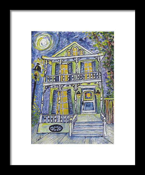 Structure Framed Print featuring the painting Green Garden District Home by Catherine Wilson