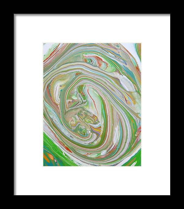 Abstract Framed Print featuring the painting Green Garden by Rosa Lopez