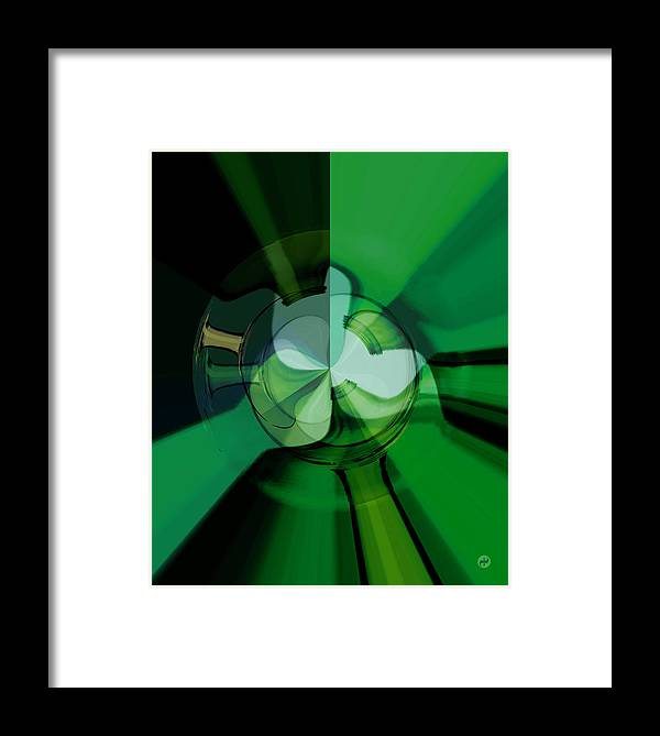 Green Framed Print featuring the digital art Green Glass Wheels by Digital Painting