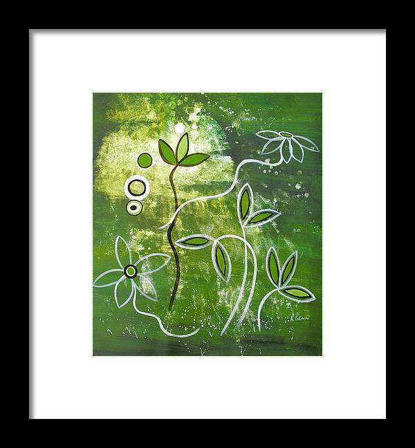 Abstract Framed Print featuring the painting Green Growth by Ruth Palmer