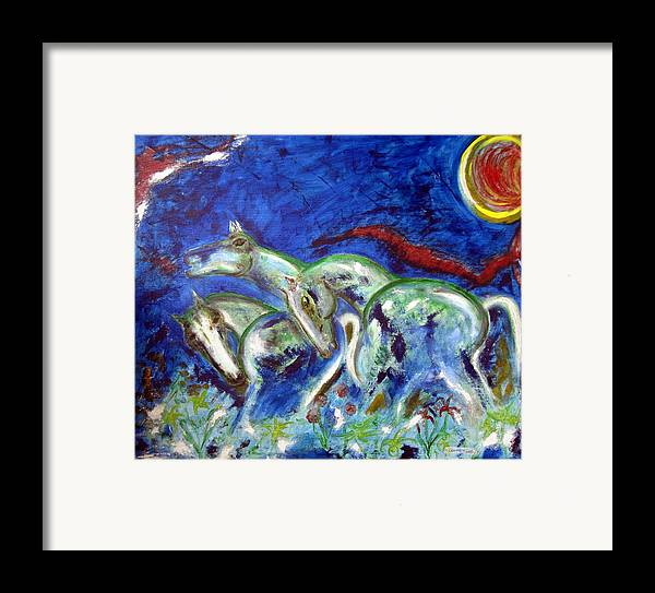 Horse Framed Print featuring the painting Green Horses by Narayanan Ramachandran