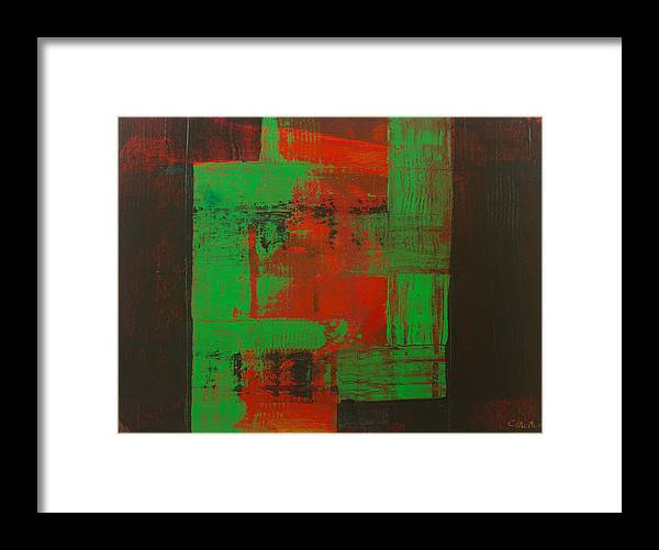Abstract Framed Print featuring the painting Green Interlock by Charles Morford