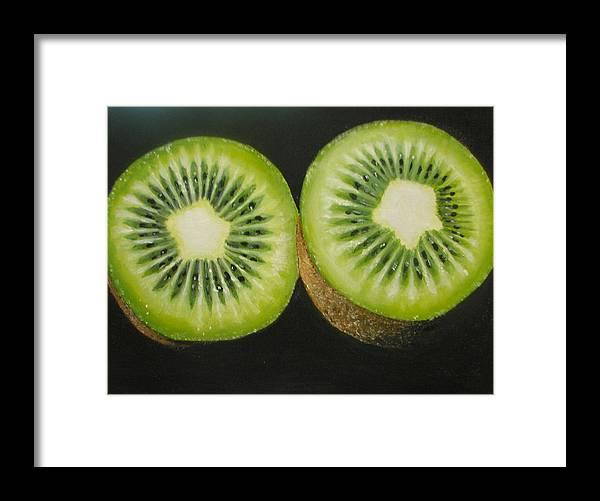 Abstract Framed Print featuring the painting Green kiwi oil painting by Natalja Picugina